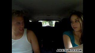 Hot amateur girlfriend sucks and fucks in her car
